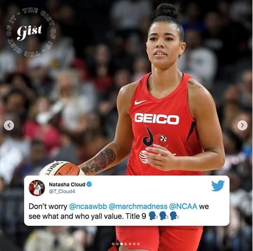 Natasha cloud Twitter post about NCAA weight room despairity