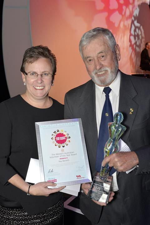 2015 Volunteer of the Year, Ray Benetti celebrating his award with Ms Heather Brayford, Director General, Department of Fisheries