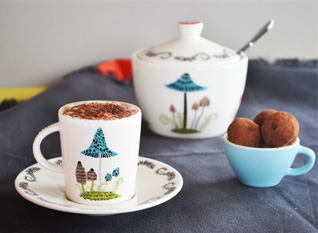 Hannah Turner Ceramics Espresso Cups and Saucers and Sugar Pots with Lids