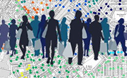 Shopper silhouettes set over a demographic profile map