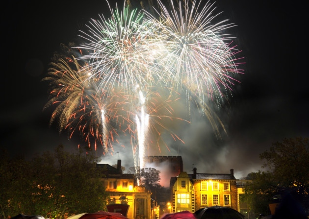 Norwich castle with fireworks - illustration