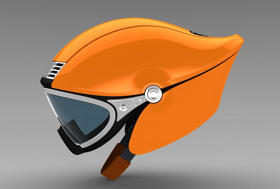 Photo of an orange helmet.