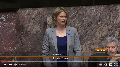 Screenshot of Jennifer Rice's speech to the BC Legislative Assembly
