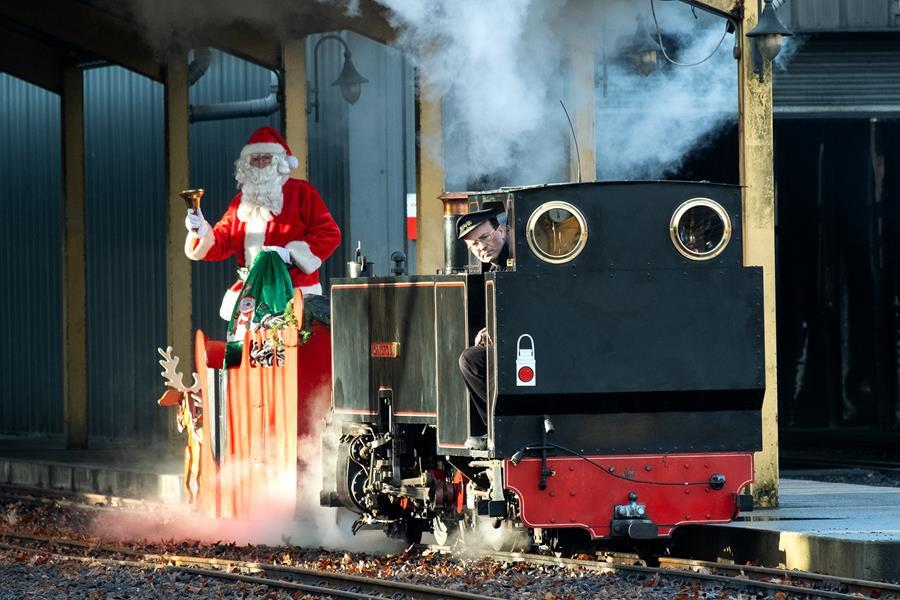 Santa on a train