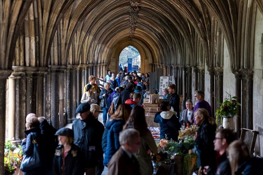 Famers market in the cloisters at Norwich Cathedral