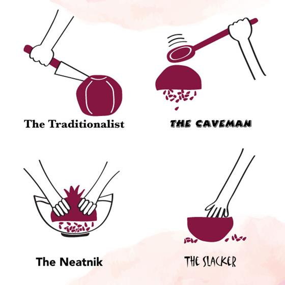 Deseeding pomegranates diagram