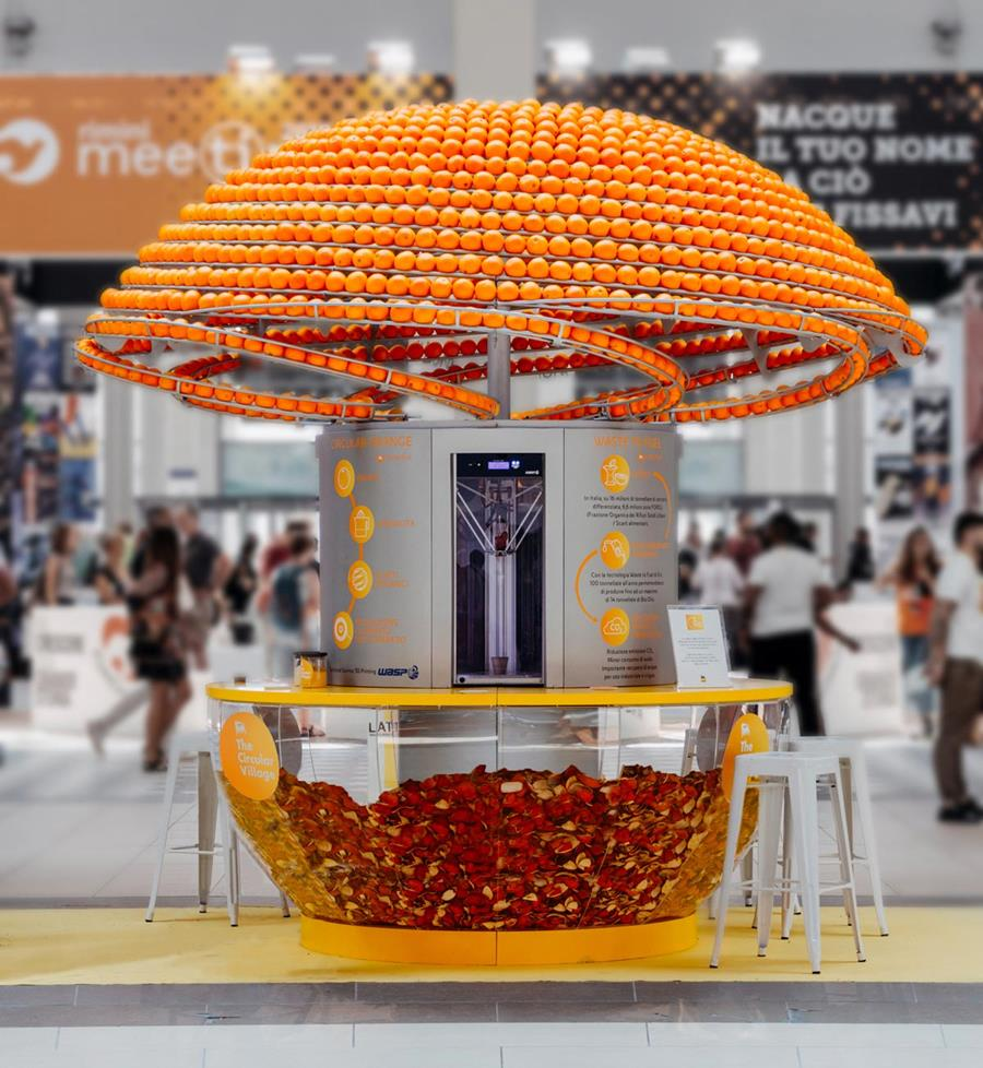 Photo of orange cup machine.