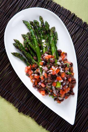 Grilled Asparagus Blackbean Salsa