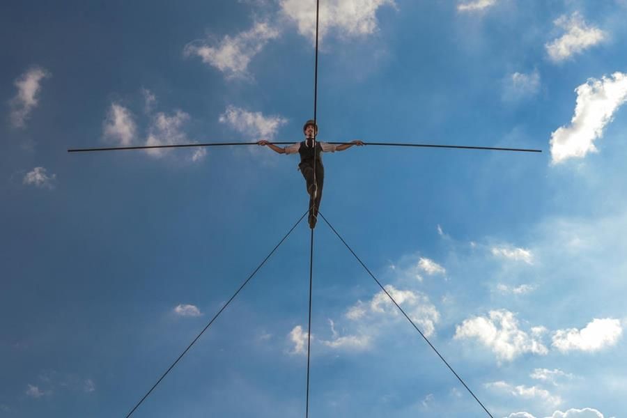Tightrope walker on the rope