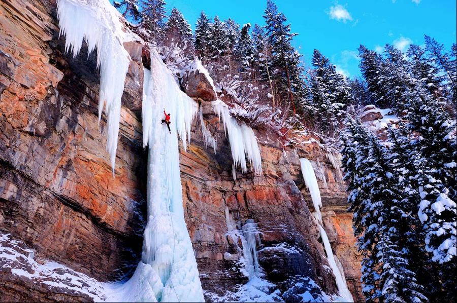 Lucas Gilman Ice Climbing shot