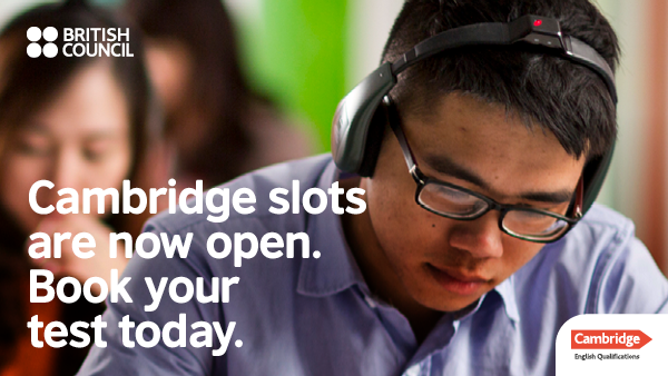 """Young adult during listening test. Caption """"Cambridge slots are now open. Book your test today."""" British Council - Cambridge English Qualification branded."""