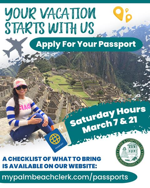Photo of a woman sitting on a mountain. Text reads: Start your vacation with our office. Apply for your passport at Clerk PBC. Saturday hours, March 7 & 21. A checklist of what to bring is available on our website: mypalmbeachclerk.com/passports.  .