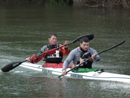 Steve Backshall and George Barnicoat in training for the DW kayak race. © Steve Backshall.