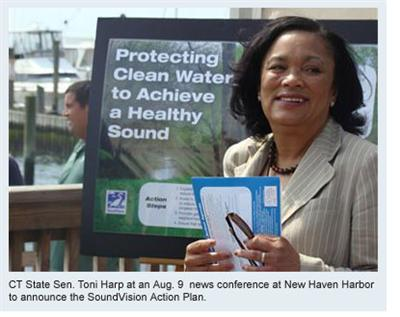 CT State Sen. Toni Harp at an Aug. 9  news conference at New Haven Harbor to announce the SoundVision Action Plan.