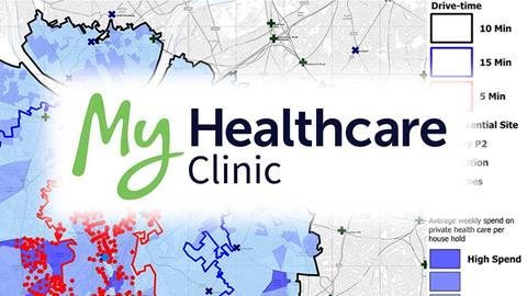 MyHealthcare Clinic logo and map