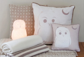 Owl lamp and cushion