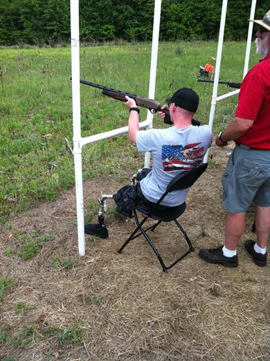 A veteran competes at the Ward Burton Wildlife Foundation's American Heroes event