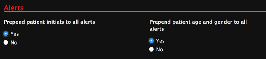 Alerts dashboard settings