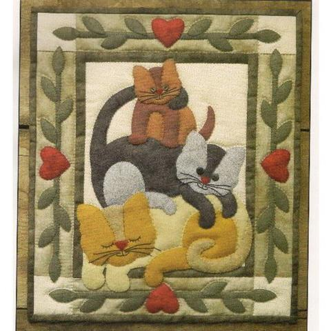 Cat Stack wall quilt pattern designed by Rachel T.Pellman