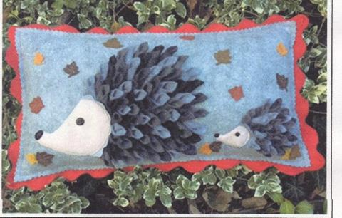 Autumn Hedgehog cushion designed by Gail Penberthy