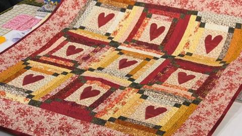 Scrap heart quilts