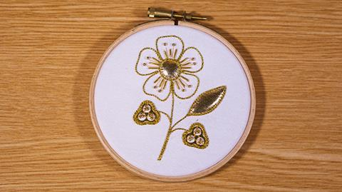 Padded Leather goldwork with Kathleen Laurel Sage