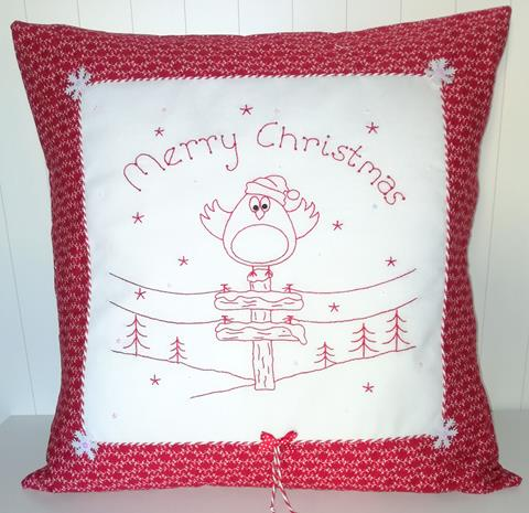 Red Work Robins Cushion pattern designed by Gail Penberthy