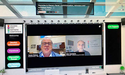 DESC's Daniel Malone and Pathways Housing First's Sam Tsemberis address the audience in the virtual auditorium during HFPC 2021, held April 20-21.