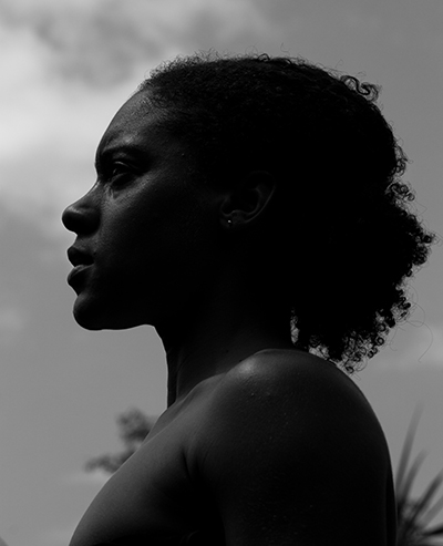Monochrome Photograph of African American Woman in Profile