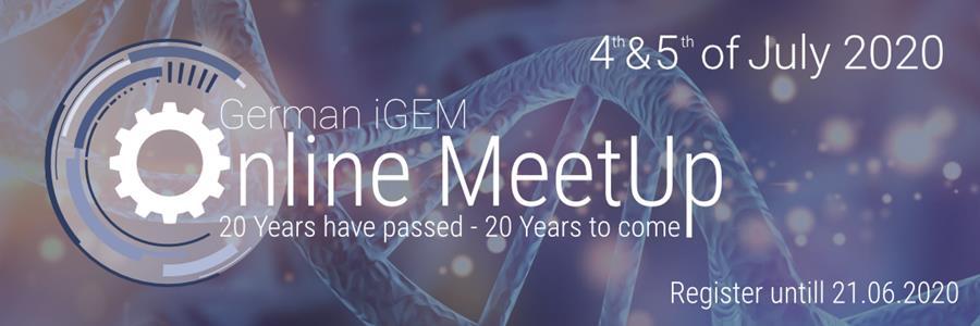 German iGEM Online Meetup - 4th & 5th of July 2020. Register until 21.06.2020