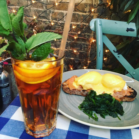 Pimm's Brunch with Eggs Royale and Spinach