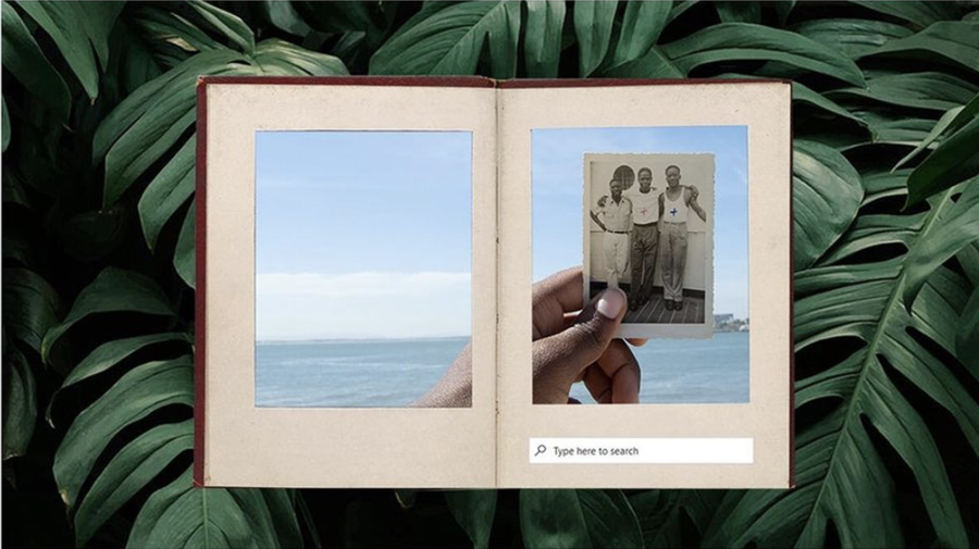 Image description: Graphic featuring an open book being held by a hand, with a photograph inside of three black people with their arms round each other. On the background is dark green leaves, there is a small search bar in the book which reads 'type here to search'.