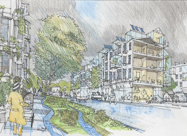 A hand drawn illustration by Richard Carman of an Urban Neighbourhood in 2050, on a rainy day