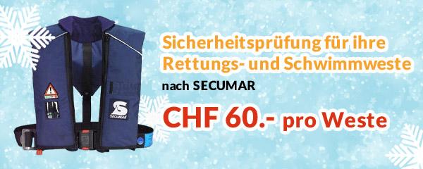 Sicherheitsprüfung für ihre Rettungs- und Schwimmweste, nach Qualitätsstandards von SECUMAR, für nur CHF 60.- pro Weste. Jetzt prüfen lassen!(
