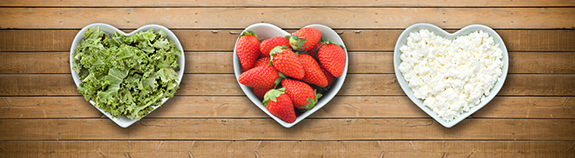 Photo of heart healthy foods: Salad, Strawberries and Cottage cheese