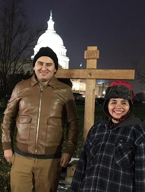 Antonia Alvarez and Daniel Galan fast for the Dream Act on Capitol Hill. MCC photo/Tammy Alexander.