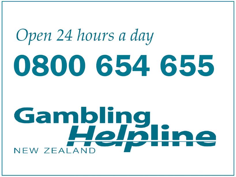 Open 24 hours a day 0800 654 655 Gambling Helpline New Zealand