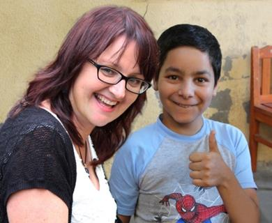 Sue van Schreven with Andrei, who was abandoned at birth and rescued from a hospital cot aged three, in 2004.
