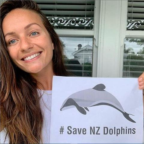 Save NZ dolphins selfie action