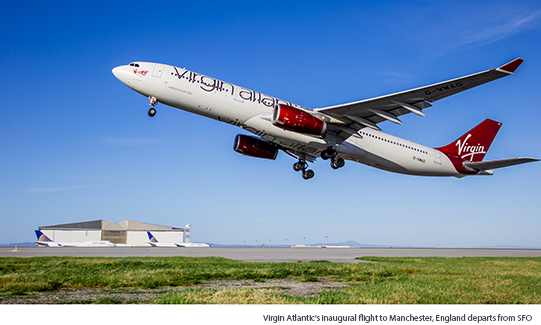 Virgin Atlantic's inaugural flight to Manchester, England departs from SFO