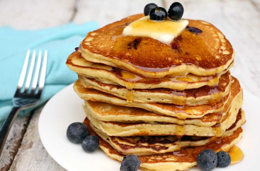 Overnight einkorn blueberry pancakes
