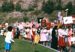<p>Corita Kent, image from St. Mary's Day procession at Immaculate Heart College (1964)</p>