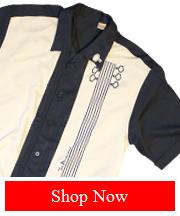 Bowling Shirt, Ivory/Navy