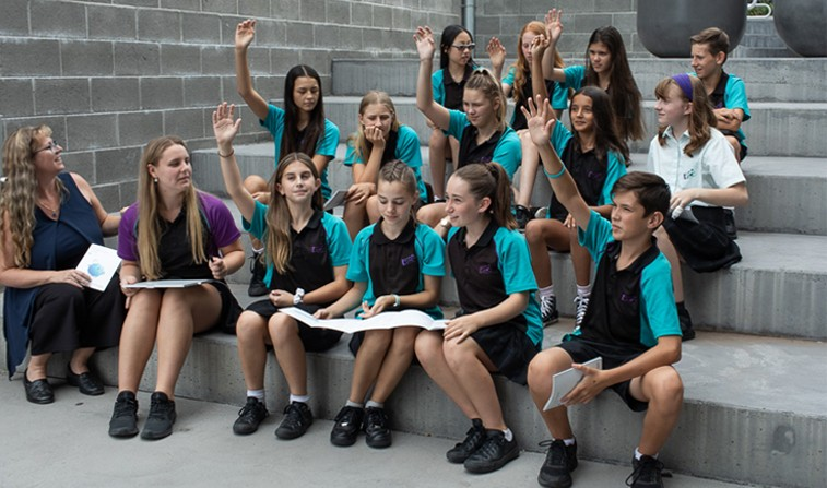 Cassandra Portelli with students