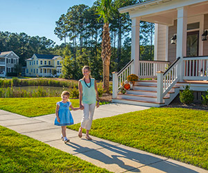 Mom and daughter strolling Carolina Park