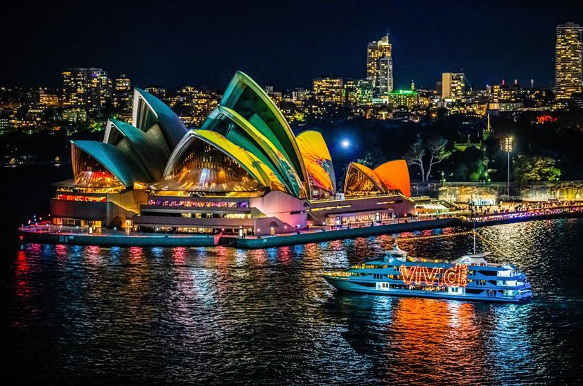 Sydney Opera House during Vivid Sydney 2019.