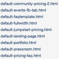 Alphabetically Organized Templates Screenshot