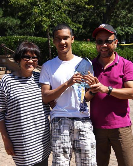 2014 SOBC Athletic Achievement Award winner Magnus Batara and parents.