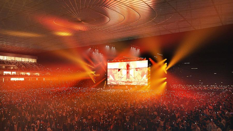 Concept of a large concert in the Canterbury Multi-Use Arena
