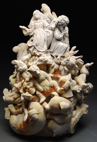Angels and Animals, 2010, 27 x 18 x 18 inches, porcelain
